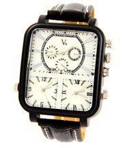 Belle montre pour homme cuir triple-cadrans noir v6 1458