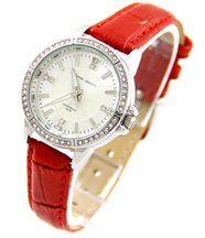 Montre Femme avec Bracelet Cuir Rouge JASMIN 505
