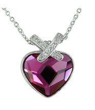Pendentif pour femme argenté cristaux swarovski elements coeur 1110
