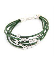 Bracelet Bijou Femme Cuir Vert Daphnée