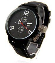 Montre d homme bracelet silicone noir v6 1606
