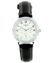 Montre femme cuir noir style chrono wave 1129