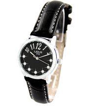 Montre femme cuir noir et diamants cz wave 992