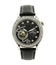 Belle montre femme automatique cuir noir cristaux cz ename 1435