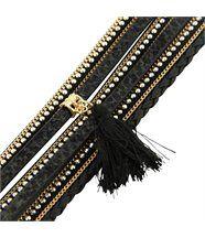 Beau bracelet femme cuir noir incrusté daphnee 1136