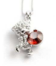 Pendentif femme argenté avec cristaux swarovski elements ourson 893