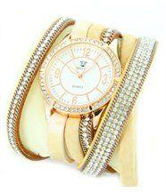 Montre Femme Cuir Beige avec Diamants Cz HIPPIE 1448