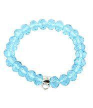 Bracelet pour Femme Cuir Perles Bleues Porte-Charm DAPHNEE 573