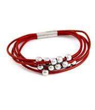 Bracelet pour femme cuir rouge daphnée