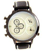 Belle montre pour homme cuir double-cadrans noir v6 1075