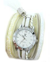 Montre Femme Cuir Blanc Diamants Cz HIPPIE 13