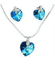 Jolie parure femme collier boucles d oreilles cristaux swarovski elements coeur 1028