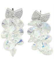 Boucles d oreilles femme argenté cristaux swarovski elements noeud 1072