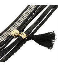 Bracelet Femme Cuir Couleur Noir Incrusté DAPHNEE 1142