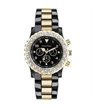 Montre femme chrono cristaux swarovski noir doré louise pearl 11