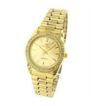 Magnifique montre femme acier doré avec cristaux cz ename 152