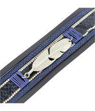 Bracelet Femme Cuir Bleu Fun Incrusté DAPHNEE 1217