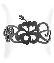 Bracelet Femme Silicone Noir Hibiscus LADY GUM 1240