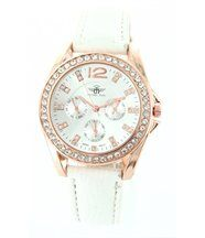 Montre femme en cuir blanc diamants cz michael john 1377