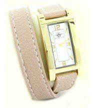 Montre femme cuir beige rosé dble-bracelet michael john 2216