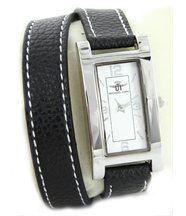 Magnifique montre femme cuir noir double-bracelet michael john 2264