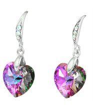 Belles boucles d oreilles femme argenté cristaux swarovski elements coeur 1048
