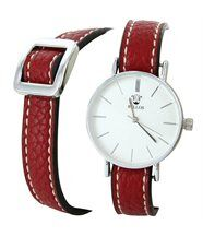 Montre Femme Cuir Rouge Double-Bracelet BELLAS 2776