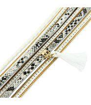 Bracelet de Femme Cuir Gris Incrusté DAPHNEE 1128