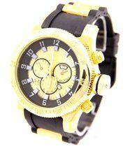 Grosse montre homme bracelet silicone noir 2379