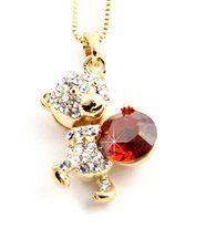 Pendentif femme doré avec cristaux swarovski elements nounours 914