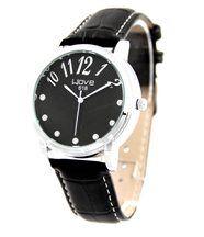 Montre femme cuir noir avec diamants cz wave 31