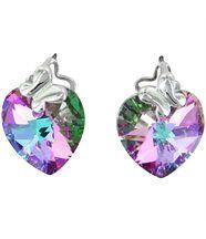 Boucles d oreilles femme en argenté cristaux swarovski elements coeur 1050