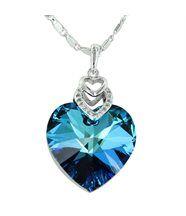 Pendentif de femme argenté cristaux swarovski elements coeur 281