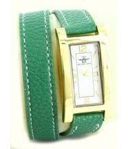 Montre de femme cuir vert double-bracelet michael john 230