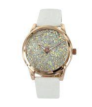 Montre femme cuir blanc bellas diamants cz 2754