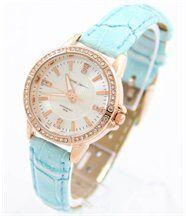 Jolie montre pour femme bracelet cuir bleu jasmin 335