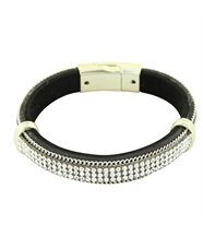 Bracelet Femme Tendance Cuir Marron Incrusté DAPHNEE 1225