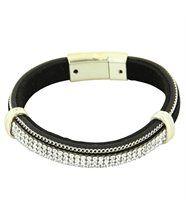 Bracelet Tendance Femme Cuir Noir Incrusté DAPHNEE 1226