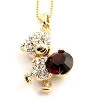 Pendentif femme doré avec cristaux swarovski elements nounours 913