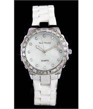Jolie montre femme céramique blanche diamants cz seven princess 1913