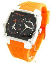 Montre Homme Dble-Cadran Bracelet Silicone Orange SPEATAK 2425