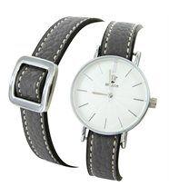Montre femme cuir gris double-bracelet bellas 2778
