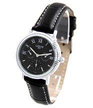 Montre femme cuir noir style chrono wave 497