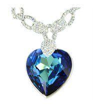 Pendentif femme argenté cristaux swarovski elements coeur 272