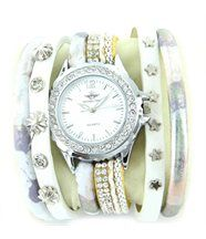 Montre Femme Cuir en Blanc Diamants Cz M. JOHN 226