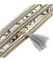 Bracelet pour femme cuir gris incrusté daphnee 1132