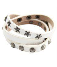 Bracelet Femme et Triple en Cuir Blanc Daphnée