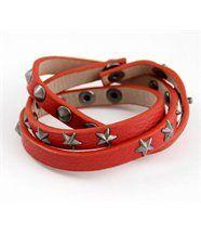 Bracelet Femme Triple en Cuir Rouge Daphnée
