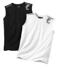 SET VAN 2 MOUWLOZE T-SHIRTS BLACK and WHITE