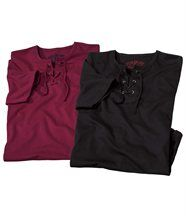 Lot de 2 Tee-Shirts Col Lacé
